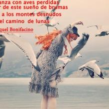 Y en la danza con aves perdidas despertar de este sueño de brumas orillarme a los montes desnudos y seguir el camino de lunas Maria Raquel Bonifacino